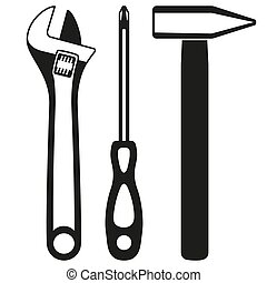 Black and white simple toolkit silhouette set