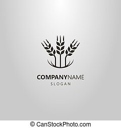 simple vector abstract logo of three wheat ears
