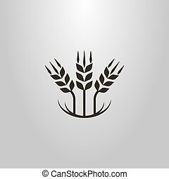 simple vector abstract symbol of three wheat ears