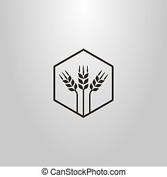 simple vector abstract symbol of three wheat ears in a hexagon frame