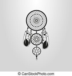 simple vector cartoon symbol of the dreamcatcher