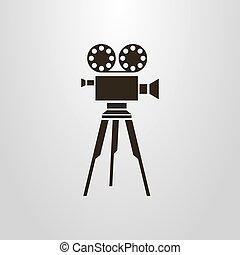 simple vector flat art symbol of retro camera