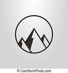 simple vector geometric symbol of mountains in a round frame...