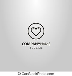 simple vector line art abstract heart logo in a round frame...