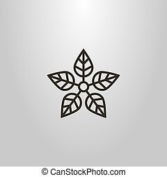 simple vector line art flat symbol of the five-leafed plant