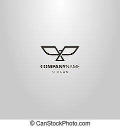 simple vector line art geometric logo of an abstract bird with open wings