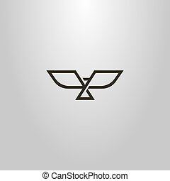 simple vector line art geometric sign of an abstract bird with open wings