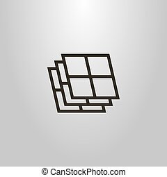 simple vector line art geometric symbol of windows