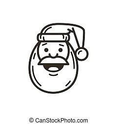 simple vector line art icon of Santa Claus face