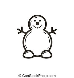 simple vector line art icon of the cute snowman