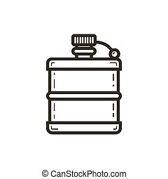 simple vector line art icon of the flask