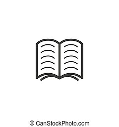simple vector line art outline icon of the open book