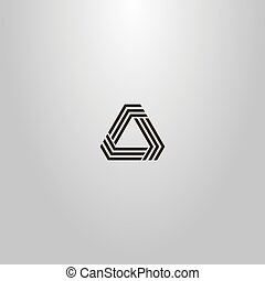 black and white simple vector line art sign modern futuristic triangular structure of three lines with obtuse angles