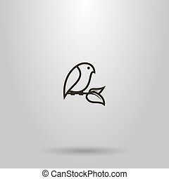 vector line art sign of a bird sitting on a branch with two leaves