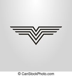simple vector line art symbol of an abstract figure in the form of a bird