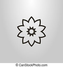 simple vector line art symbol of flower bud