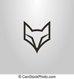 simple vector line art symbol of fox head