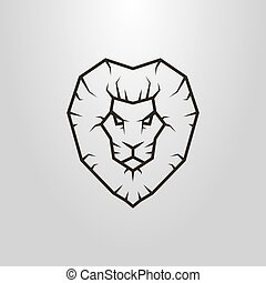 simple vector line art symbol of lion head