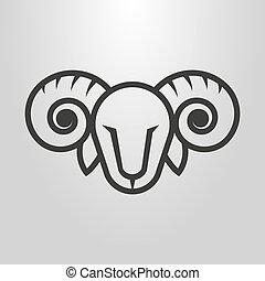 simple vector line art symbol of ram head