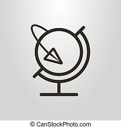 simple vector line art symbol of the globe and paper airplane