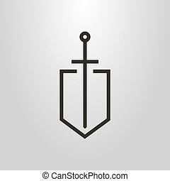 simple vector line art symbol of the knight sword on the shield