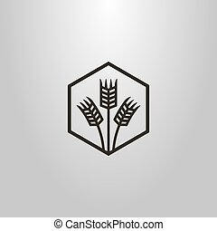 simple vector line art symbol of three wheat ears in a hexagon frame