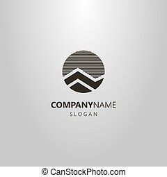 simple vector round abstract mountain landscape logo