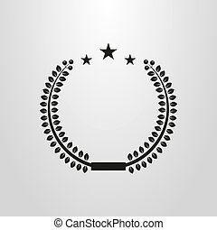 simple vector round frame of laurel with stars