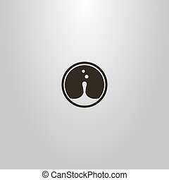 simple vector round negative space sign of water drop and ...