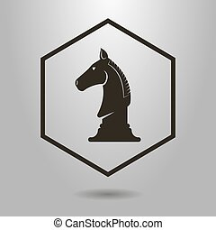 simple vector symbol of chess knight in the hexagon frame