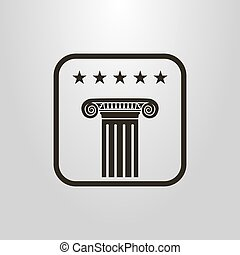 simple vector symbol of the ancient column under the five starts in a frame
