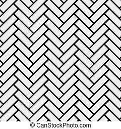 Black and white simple wooden floor herringbone parquet seamless pattern, vector background