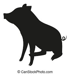 Black and white sitting pig silhouette. 2019 year chinese...