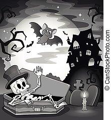 Black and white skeleton theme image
