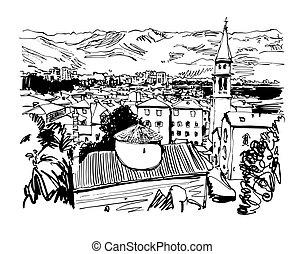 black and white sketch art panorama of Budva Montenegro,...