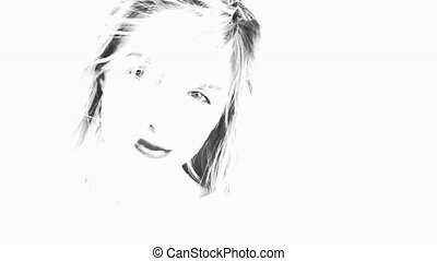 Black and white sketch Beautiful woman