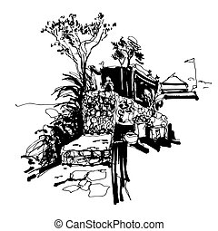 black and white sketch drawing of Budva Montenegro fortress...