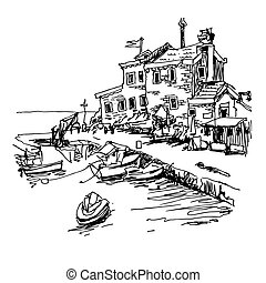 black and white sketch drawing of historical fort Petrovac...