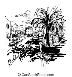 black and white sketch drawing of Petrovac Montenegro street...