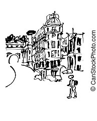 black and white sketch hand drawing of Rome Italy famous citysca