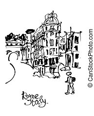 black and white sketch hand drawing of Rome Italy famous