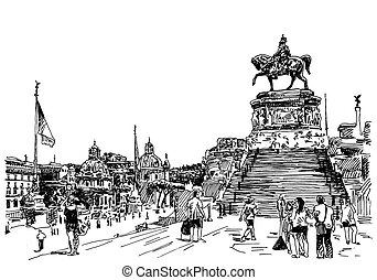 sketch hand drawing of Rome Italy famous cityscape - black...