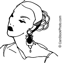 sketch of a girl with beautiful earrings