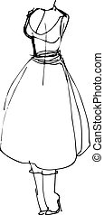 sketch of a mannequin in a retro dress