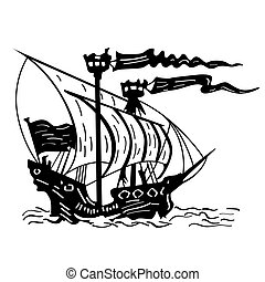 Black and white sketch of a sailing ship. Hand drawn illustration