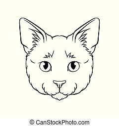 Black and white sketch of cats head, face of pet animal hand drawn vector Illustration