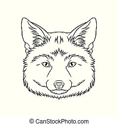 Black and white sketch of fox head, face of wild animal hand drawn vector Illustration