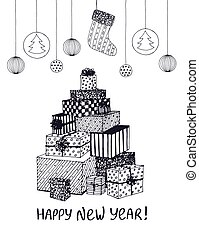 Black and white sketch of New Year presents and gifts in shape of Christmas Tree. Vector hand drawn doodle for holiday design, postcard, greeting card, invitation, banner, sticker. Modern calligraphy