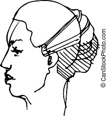sketch of the profile of a young woman