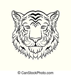 Black and white sketch of tigers head, face of wild animal hand drawn vector Illustration
